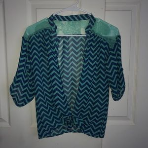 Fancy teal, navy blue button up 3 quarter shirt !!